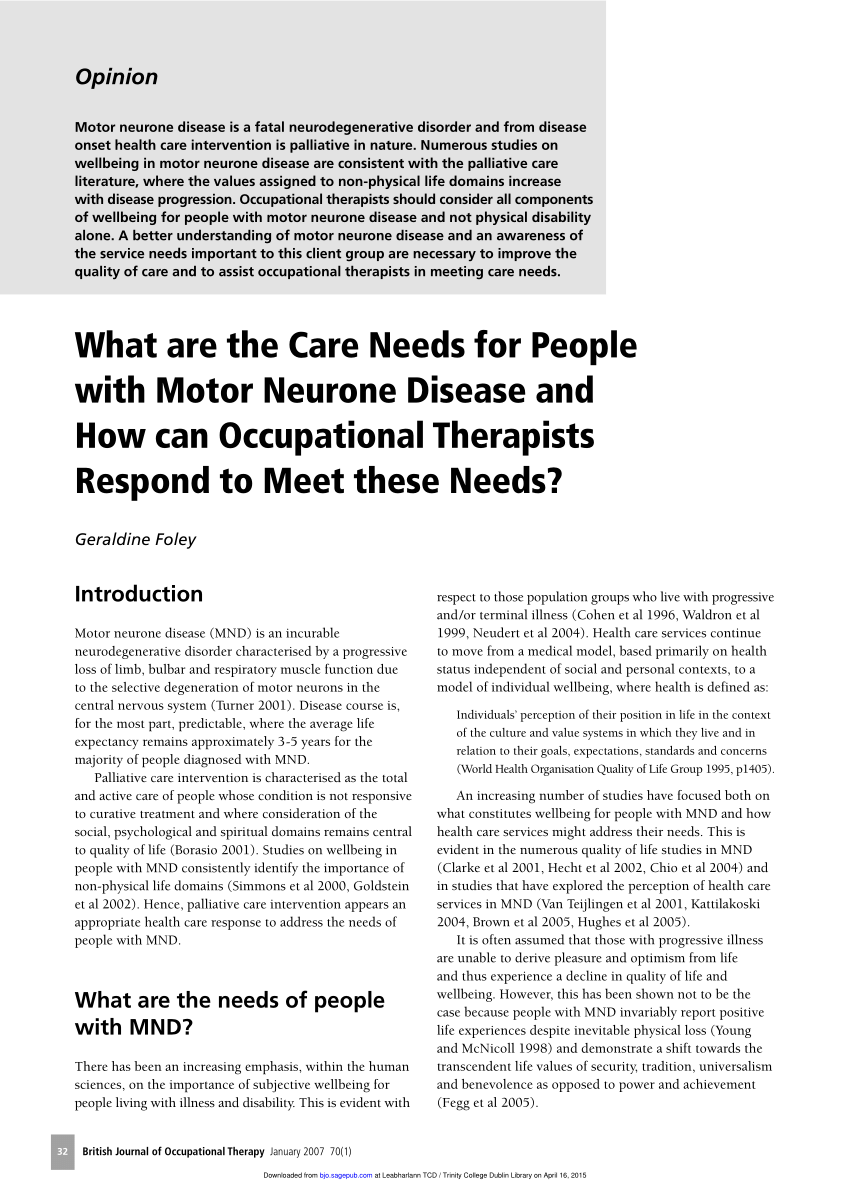 (PDF) What are the Care Needs for People with Motor