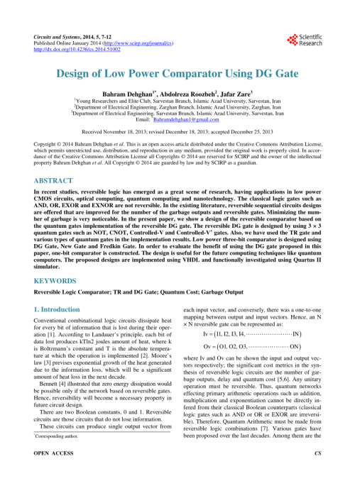 small resolution of  pdf design of efficient reversible binary comparator