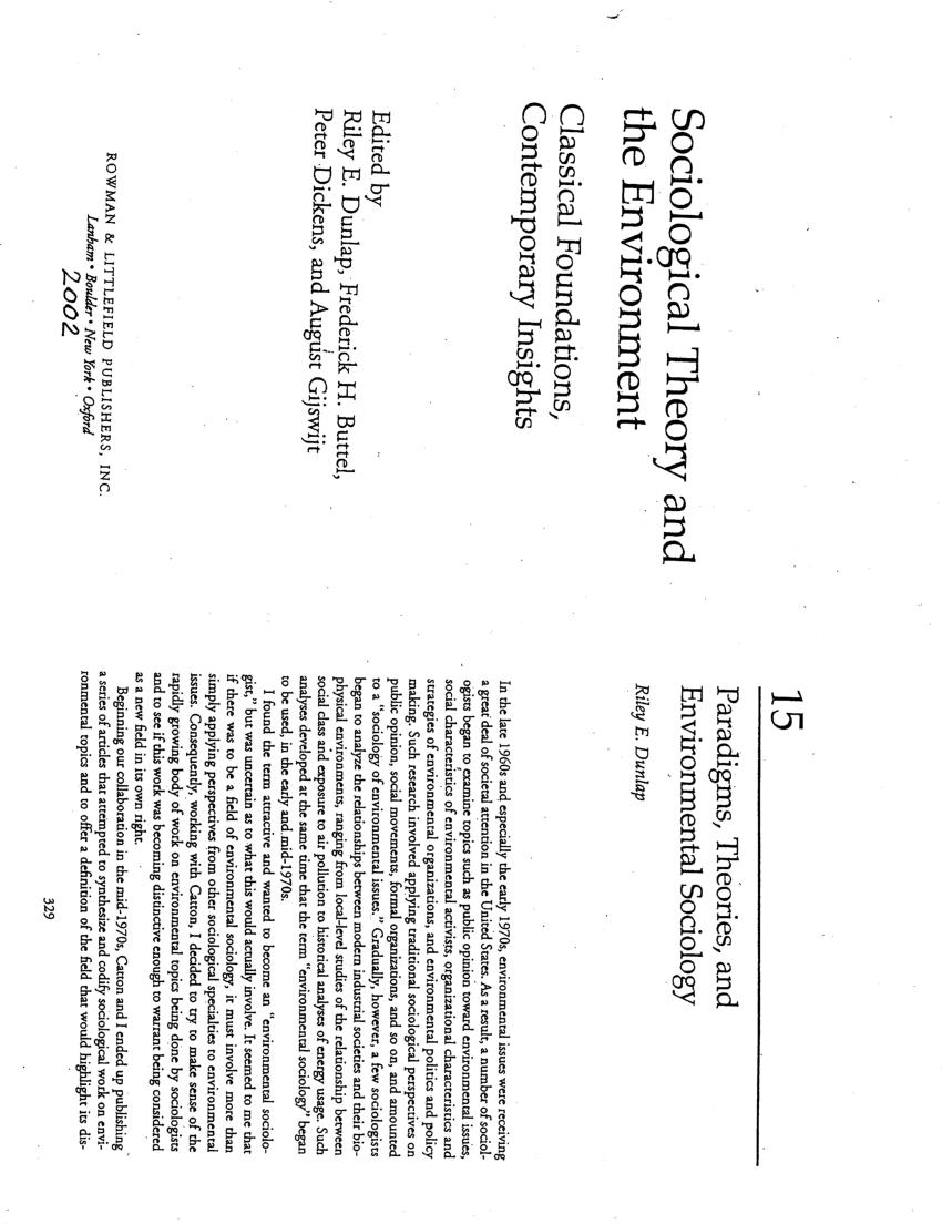 (PDF) Paradigms, Theories, and Environmental Sociology