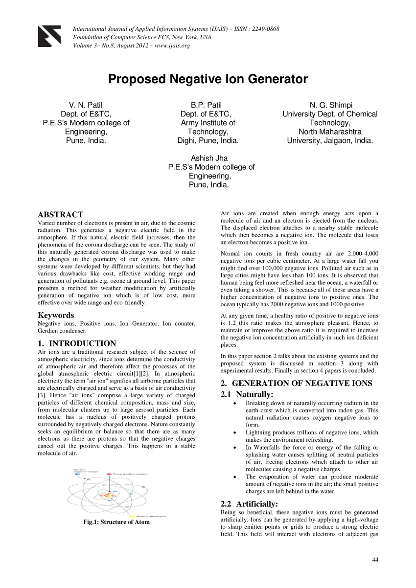 hight resolution of  pdf proposed negative ion generator