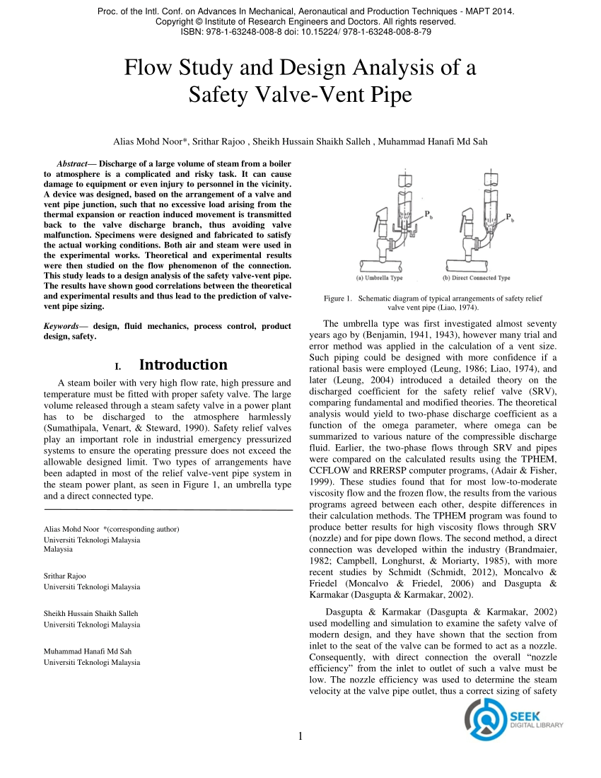 hight resolution of  pdf flow study and design analysis of a safety valve vent pipe