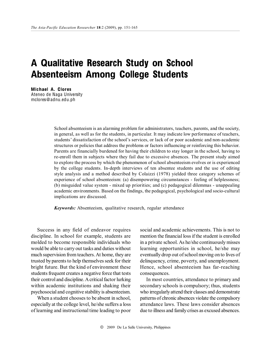 PDF A Qualitative Research Study On School Absenteeism Among