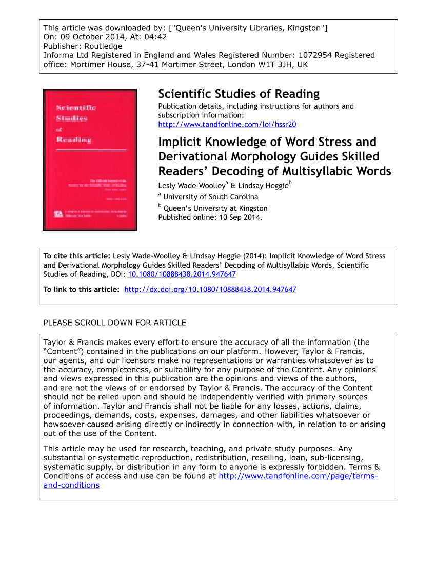 medium resolution of PDF) Implicit Knowledge of Word Stress and Derivational Morphology Guides  Skilled Readers' Decoding of Multisyllabic Words