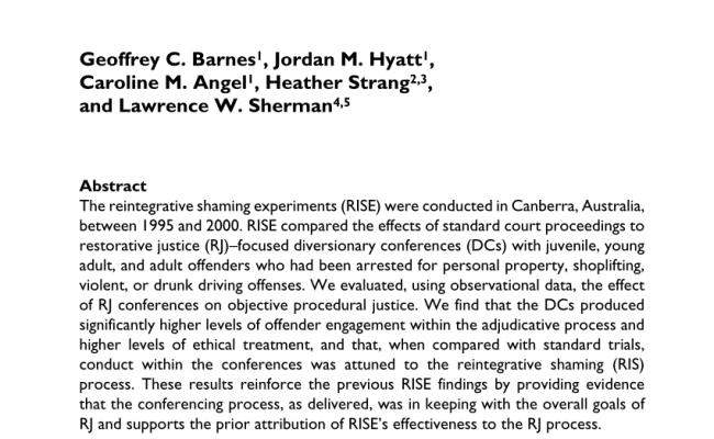 Pdf Are Restorative Justice Conferences More Fair Than