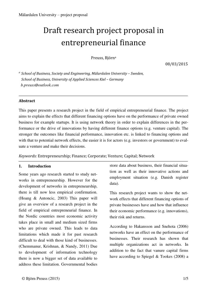 PDF Draft Research Proposal In Entrepreneurial Finance