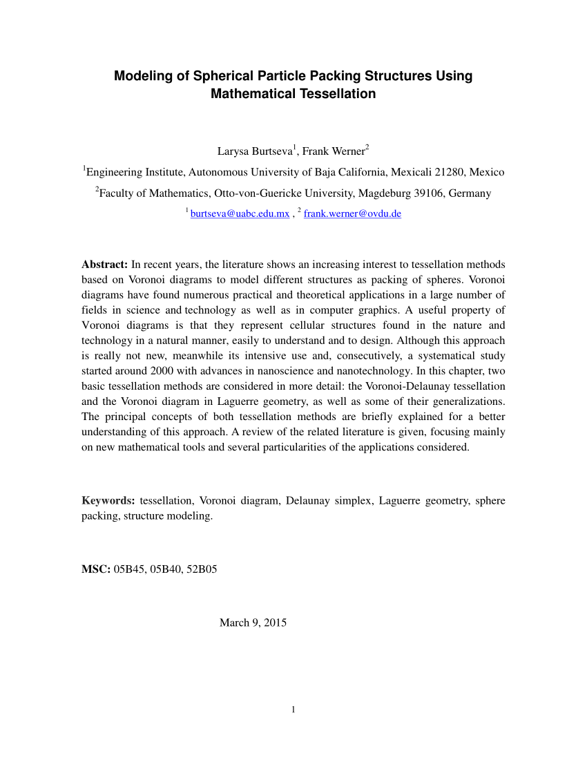 hight resolution of  pdf modeling of spherical particle packing structures using mathematical tessellation