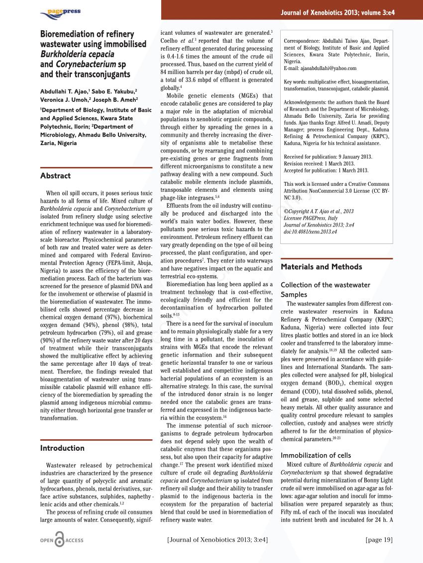 (PDF) Bioremediation of refinery wastewater using