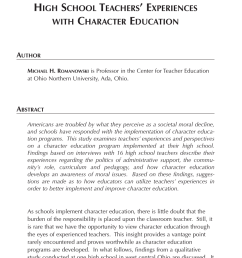 PDF) Through the Eyes of Teachers: High School Teachers' Experiences With Character  Education. [ 1314 x 850 Pixel ]