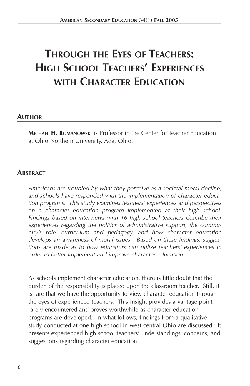 medium resolution of PDF) Through the Eyes of Teachers: High School Teachers' Experiences With Character  Education.