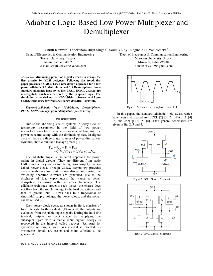 hight resolution of  pdf adiabatic logic based low power multiplexer and demultiplexer