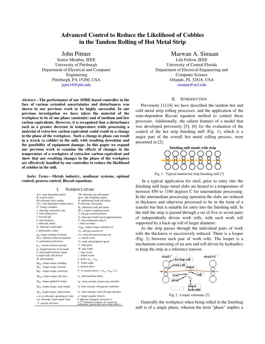 medium resolution of  pdf a useful control model for tandem hot metal strip rolling