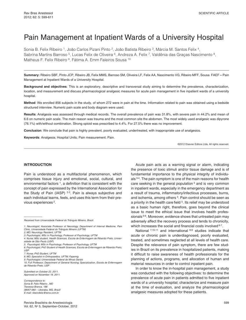 medium resolution of  pdf pain management at inpatient wards of a university hospital