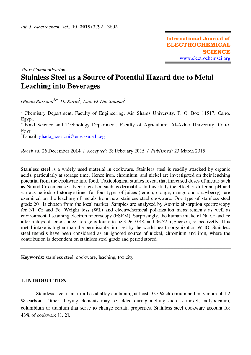 medium resolution of  pdf stainless steel as a source of potential hazard due to metal leaching into beverages