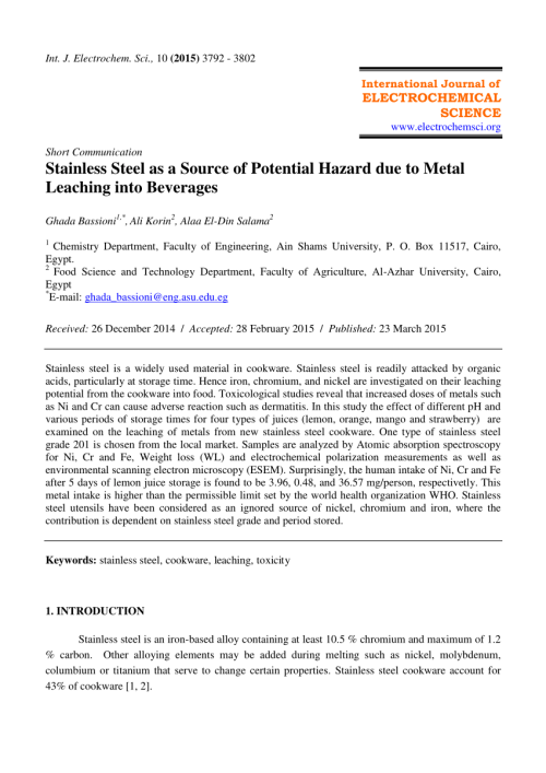 small resolution of  pdf stainless steel as a source of potential hazard due to metal leaching into beverages