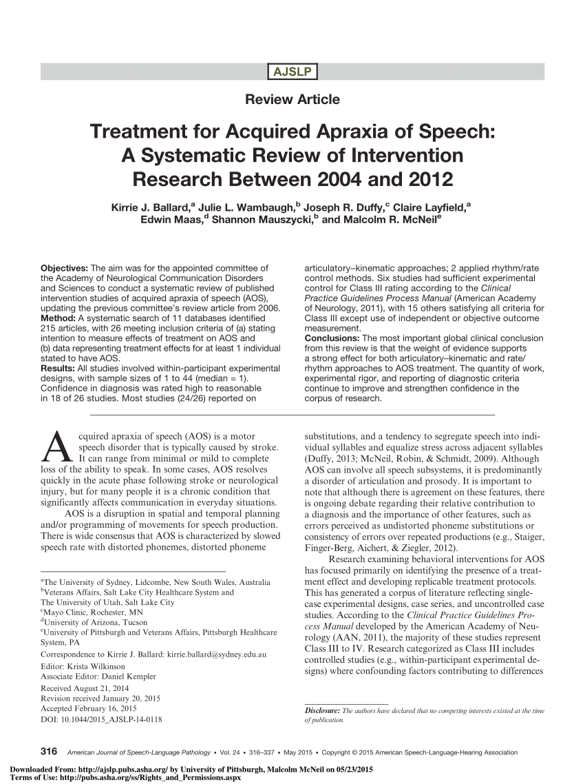 Treatment For Acquired Apraxia Of Speech A