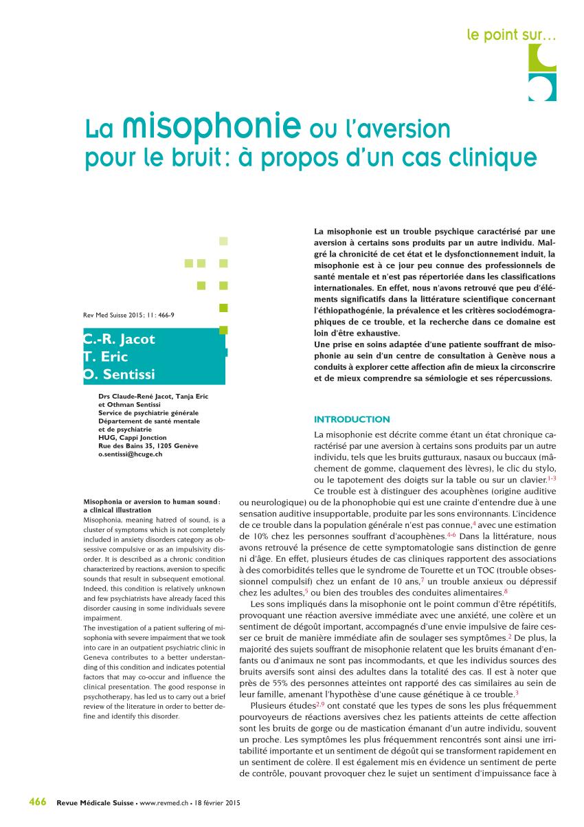 Ne Pas Supporter Les Bruits De Bouche : supporter, bruits, bouche, Misophonie, L'aversion, Bruit,, Propos, Clinique