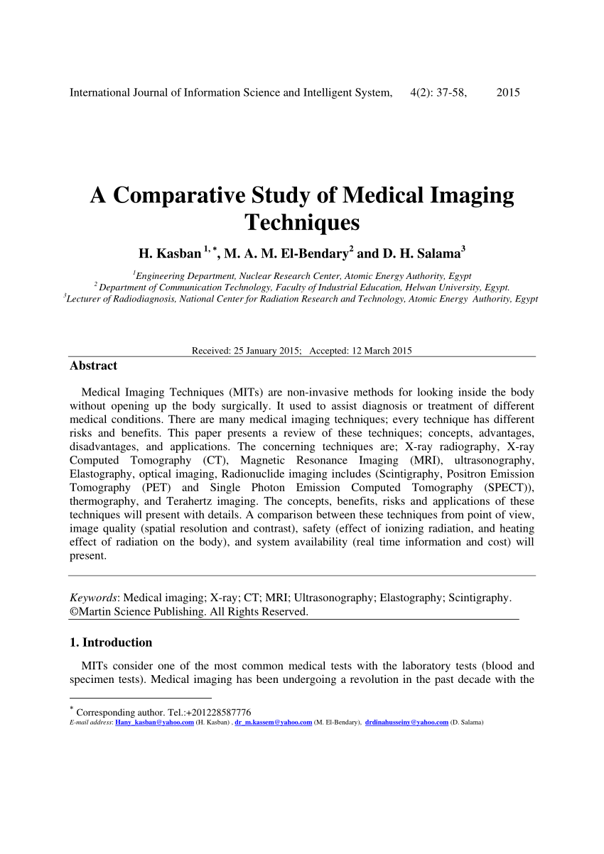 PDF A Comparative Study Of Medical Imaging Techniques