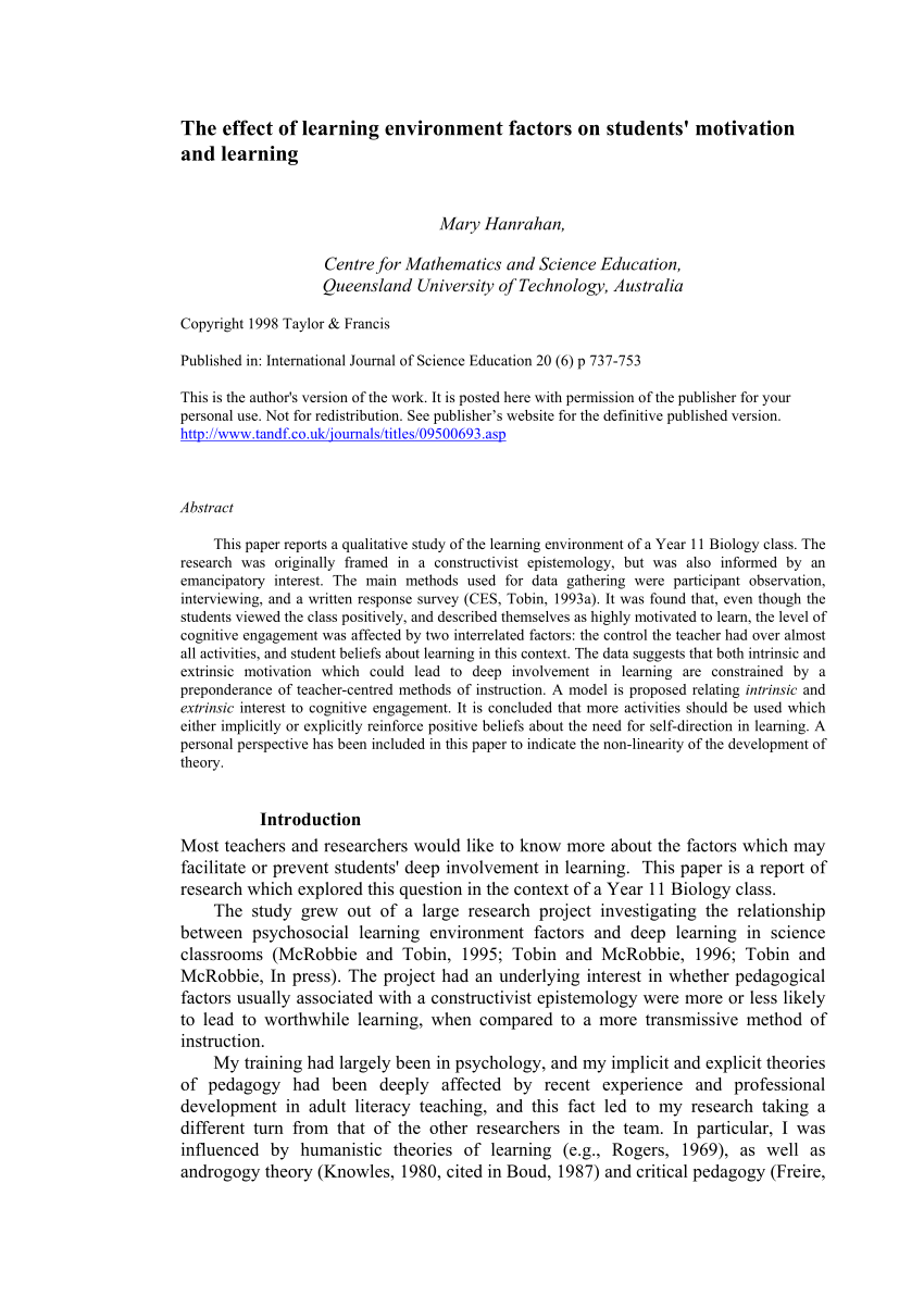 PDF The Effect Of Learning Environment Factors On Students