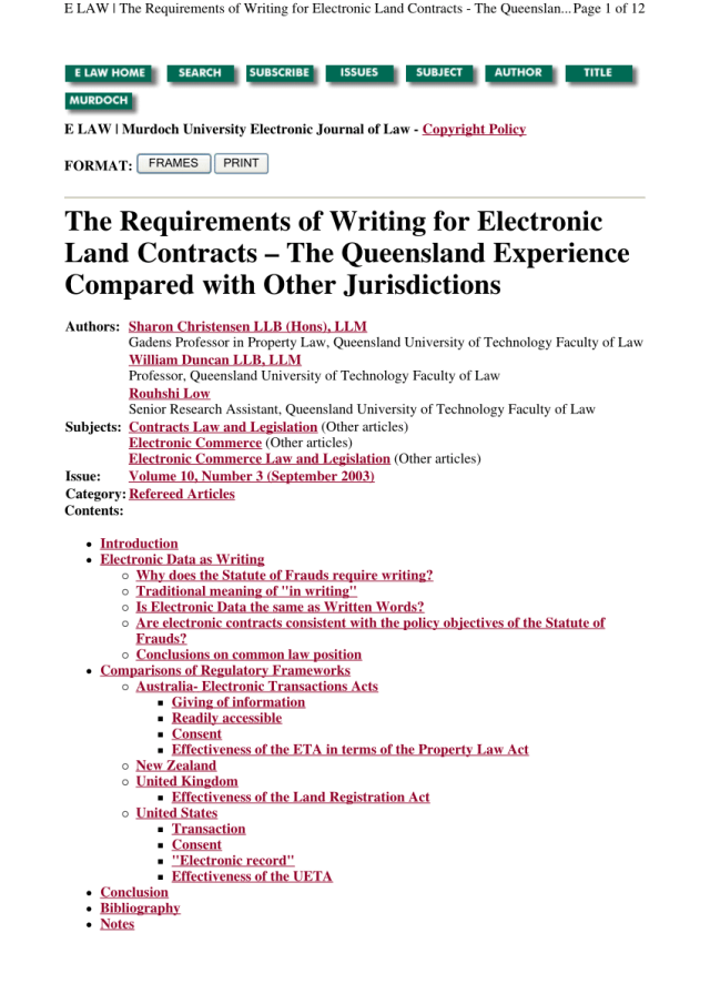 PDF) The Requirements of Writing for Electronic Land Contracts