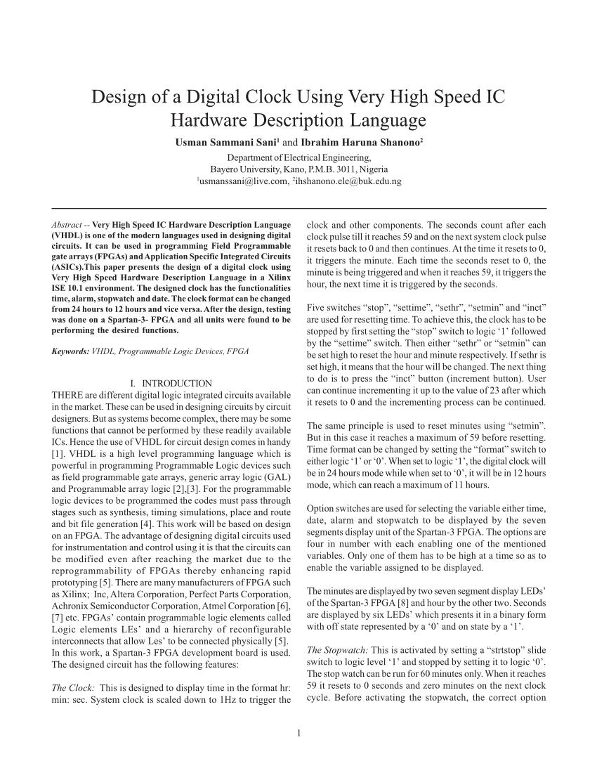 hight resolution of  pdf design of a digital clock using very high speed ic hardware description language