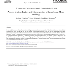 theoretical and experimental analysis of the remote welding process on thin lap joined aisi 304 sheets request pdf [ 850 x 1160 Pixel ]