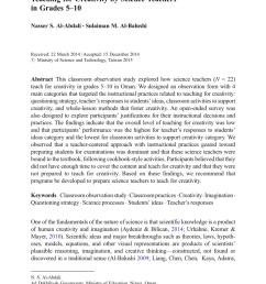 PDF) Teaching for Creativity by Science Teachers in Grades 5–10 [ 1290 x 850 Pixel ]