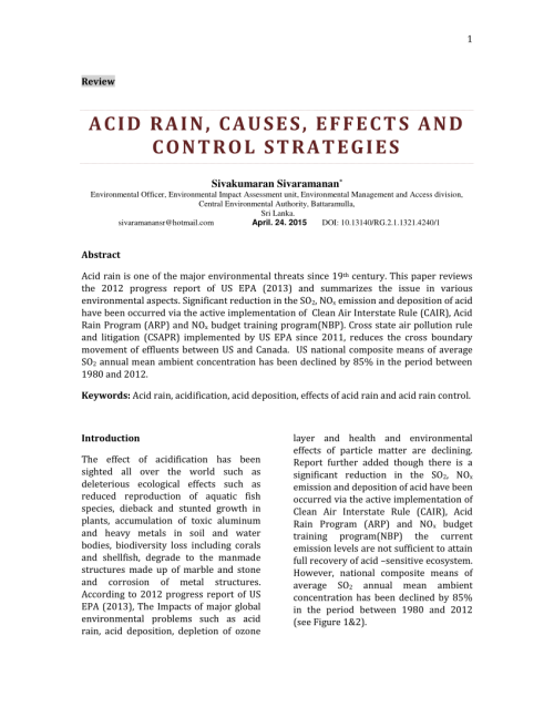 small resolution of  pdf acid rain causes effects and control strategies