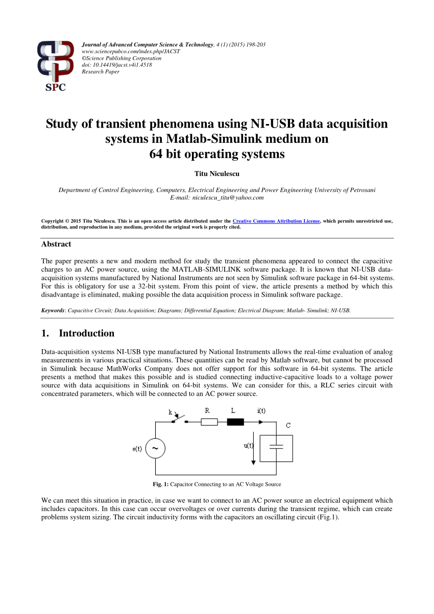hight resolution of  pdf study of transient phenomena using ni usb data acquisition systems in matlab simulink medium on 64 bit operating systems