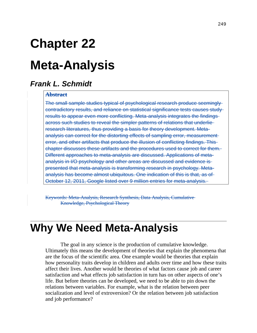 PDF Meta Analysis Cumulating Research Findings Across