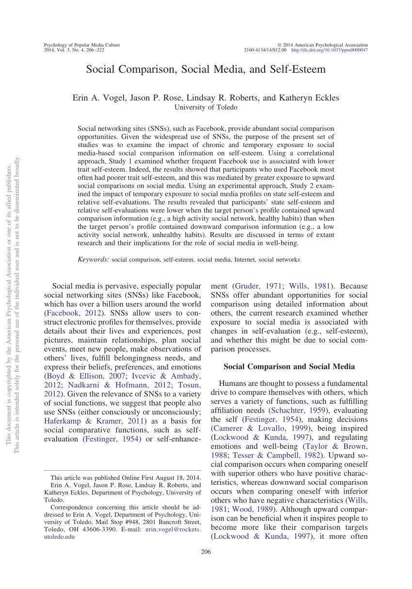 PDF Social Comparison Social Media And Self Esteem