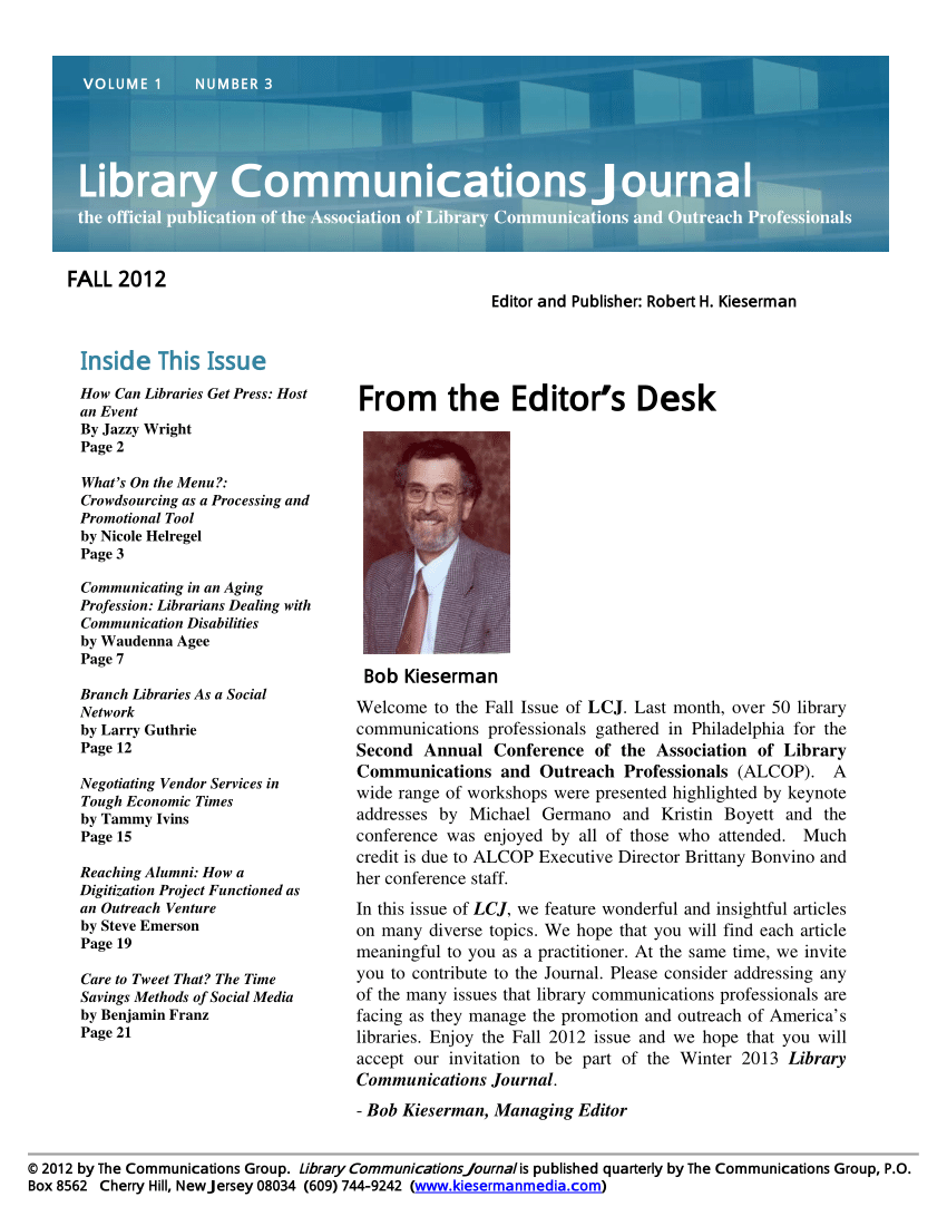 PDF) Branch Libraries As Social Network, Library Communications ...