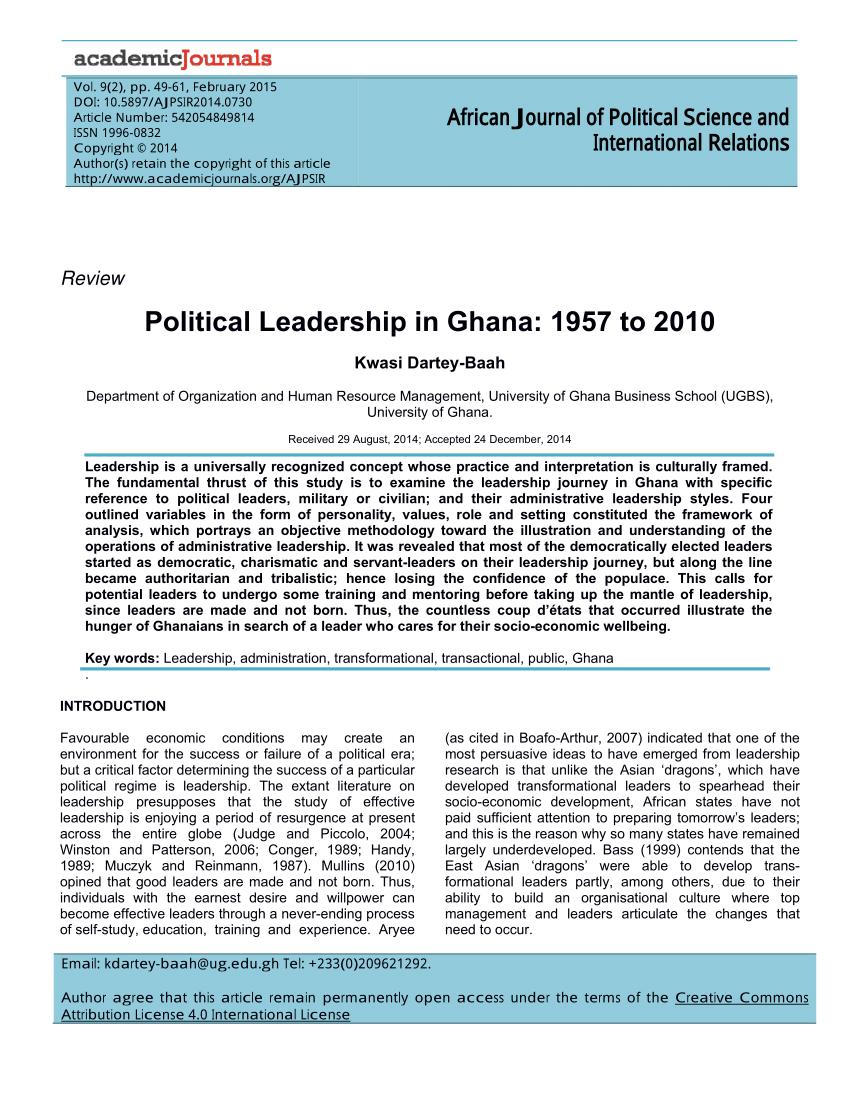 PDF Political Leadership In Ghana 1957 To 2010