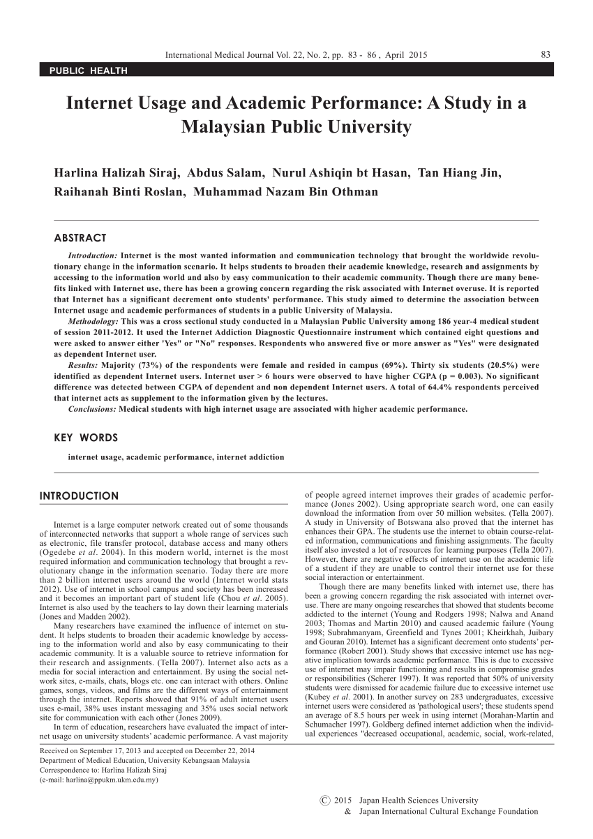 PDF Internet Usage And Academic Performance A Study In A Malaysian