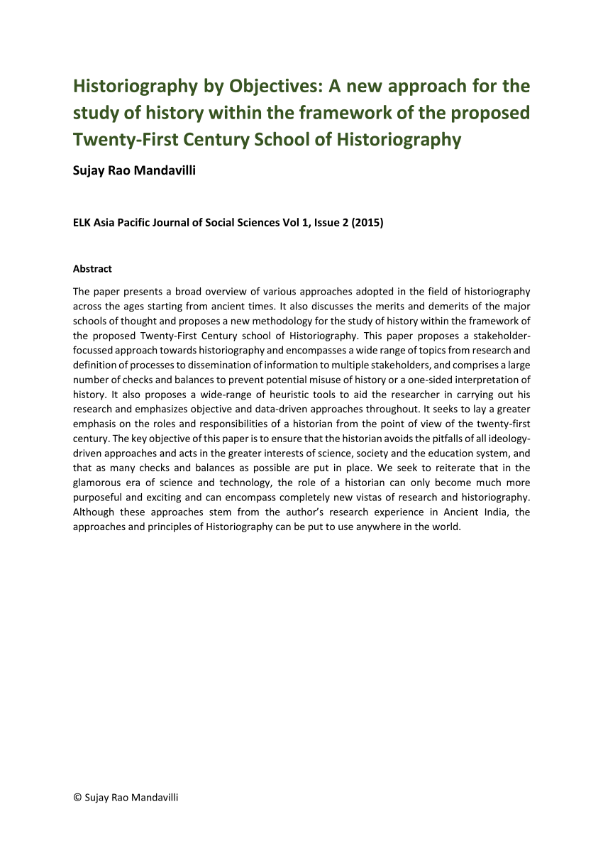PDF Historiography By Objectives A New Approach For The Study Of