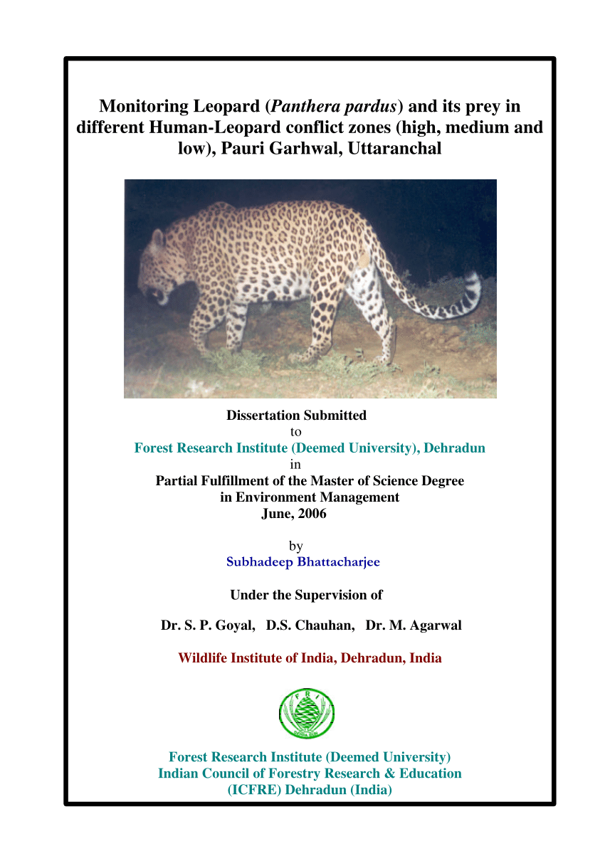 medium resolution of  pdf monitoring leopard panthera pardus and its prey in different human leopard conflict zones high medium and low pauri garhwal uttaranchal