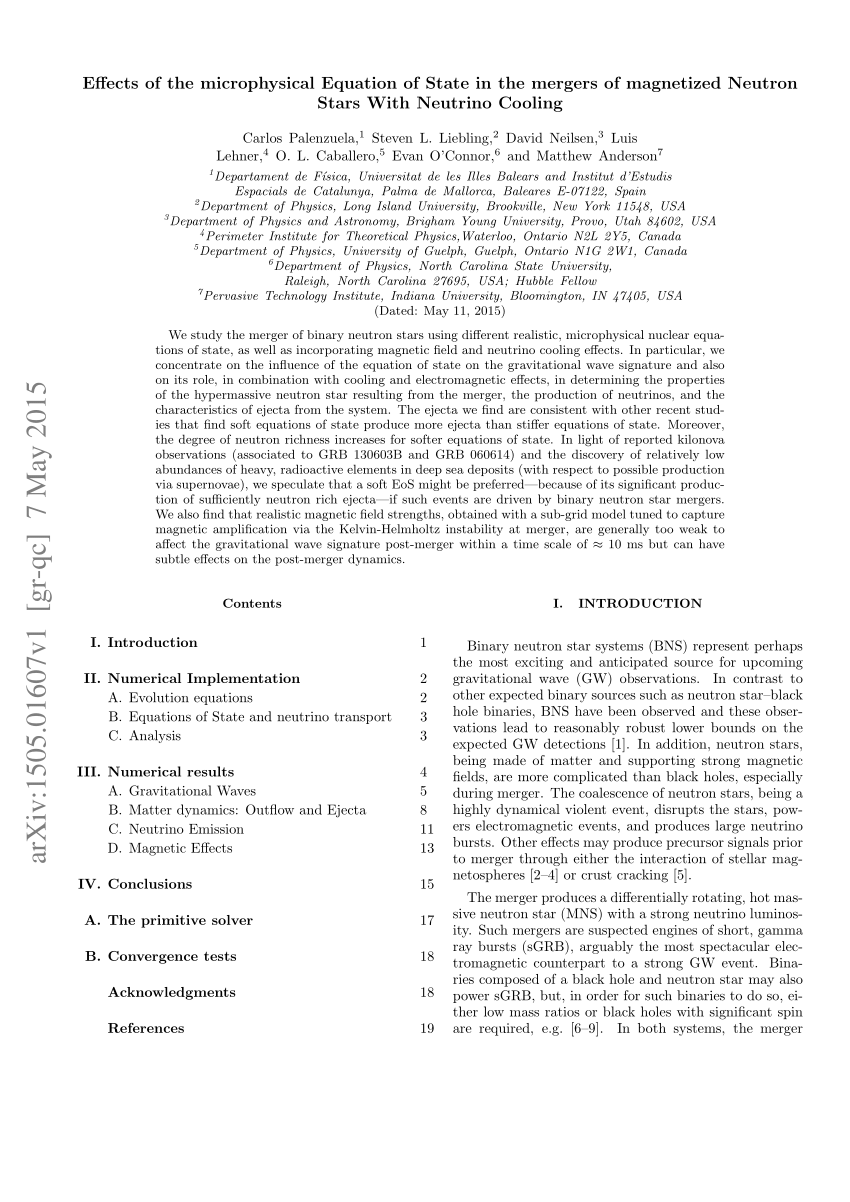 (PDF) Effects of the microphysical Equation of State in