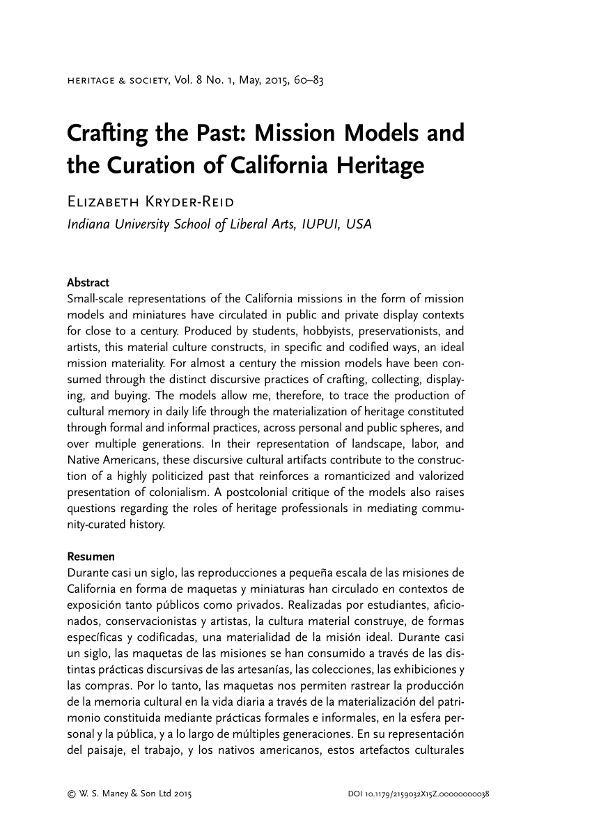 hight resolution of PDF) Crafting the Past: Mission Models and the Curation of California  Heritage