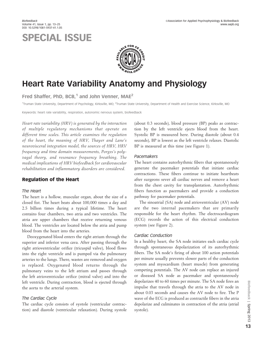 PDF Heart Rate Variability Anatomy And Physiology