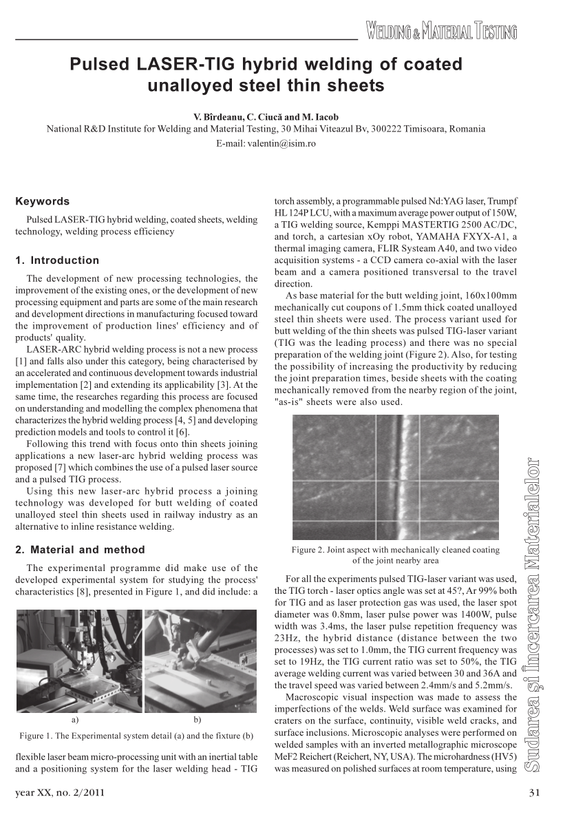 hight resolution of  pdf pulsed laser tig hybrid welding of coated unalloyed steel thin sheets