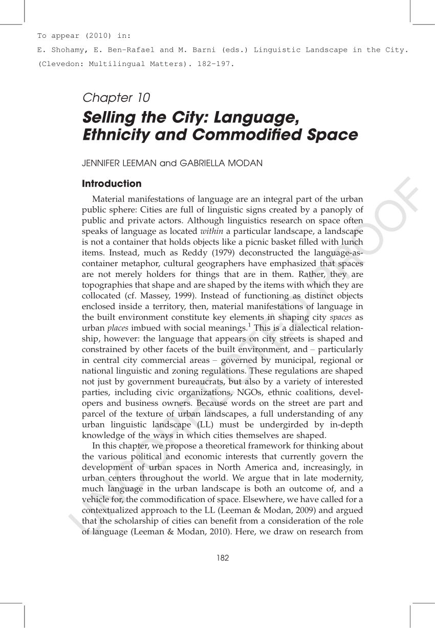 Selling The City Language Ethnicity And Commodified Space PDF