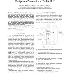 pdf design simulation 64 bit alu [ 850 x 1100 Pixel ]