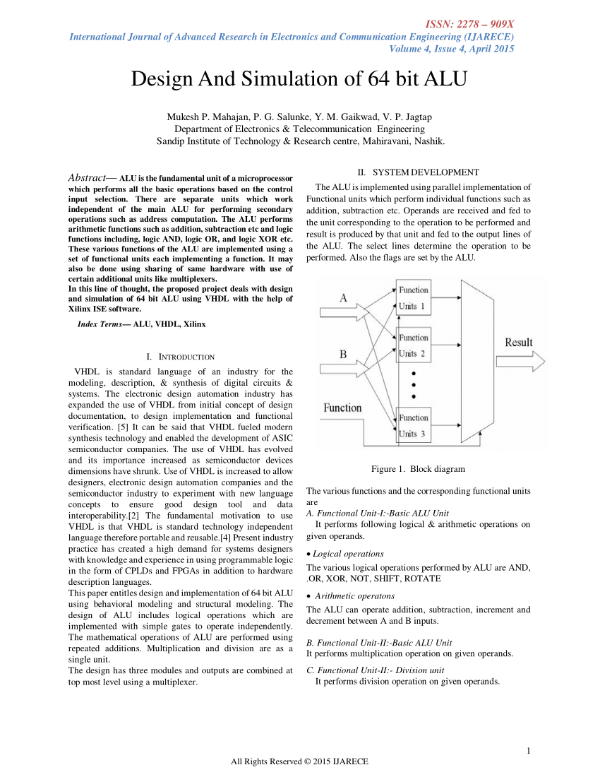 hight resolution of  pdf design simulation 64 bit alu