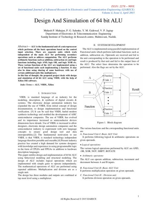 small resolution of  pdf design simulation 64 bit alu
