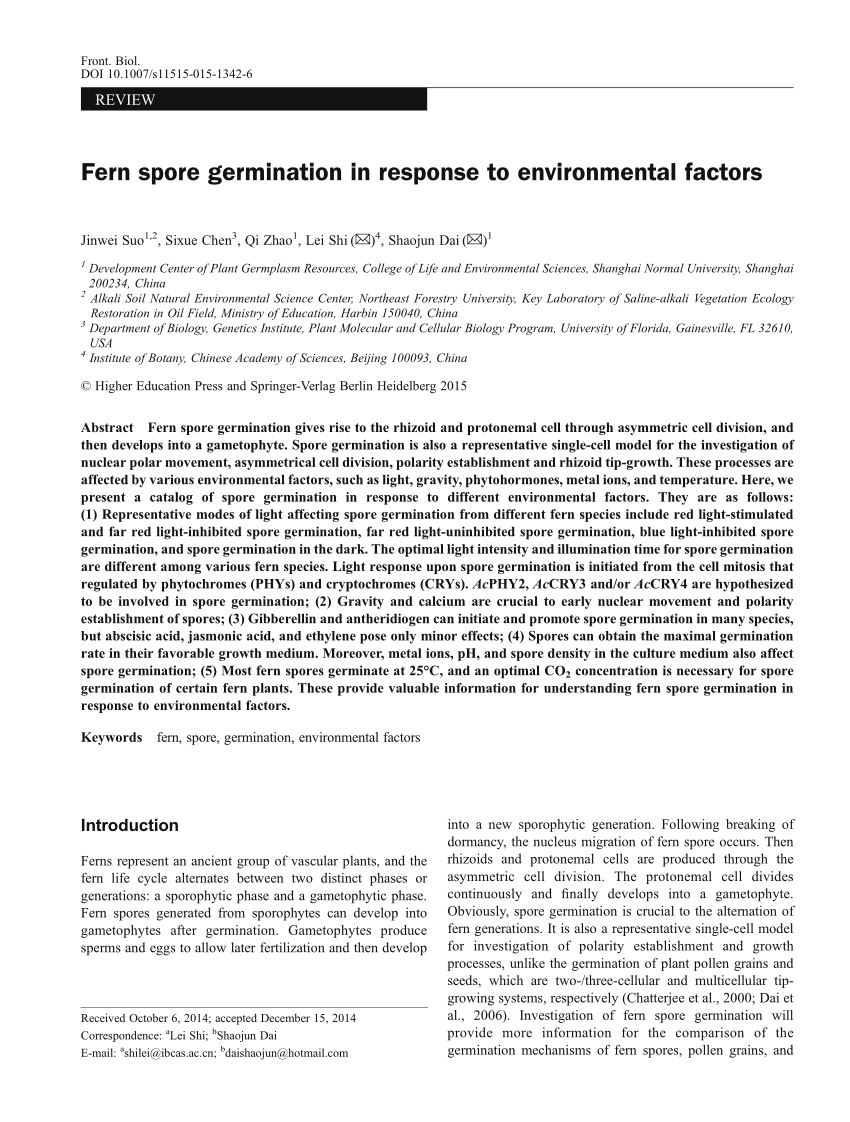 hight resolution of  pdf fern spore germination in response to environmental factors