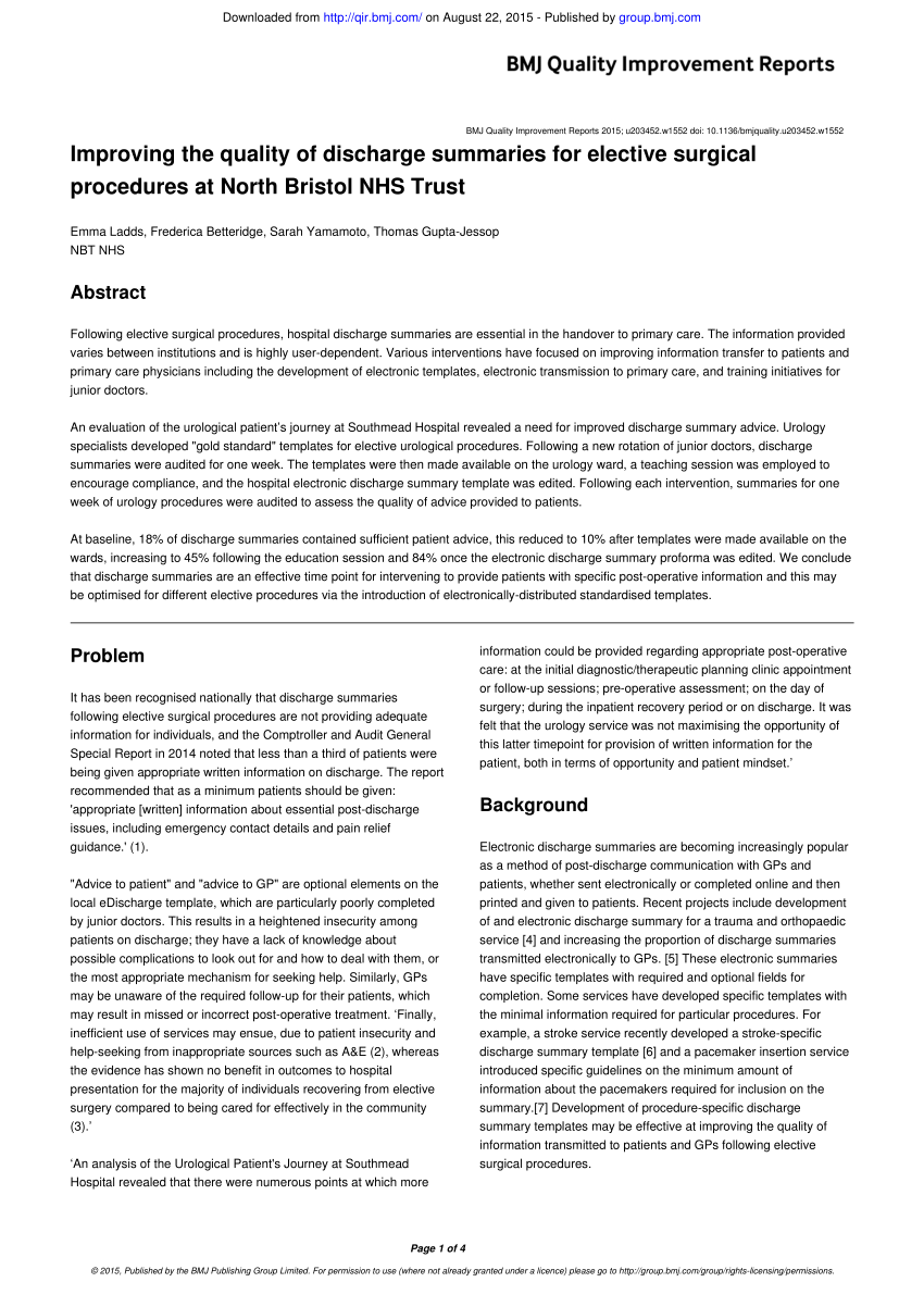 (PDF) Improving the quality of discharge summaries for elective surgical procedures at North Bristol NHS Trust