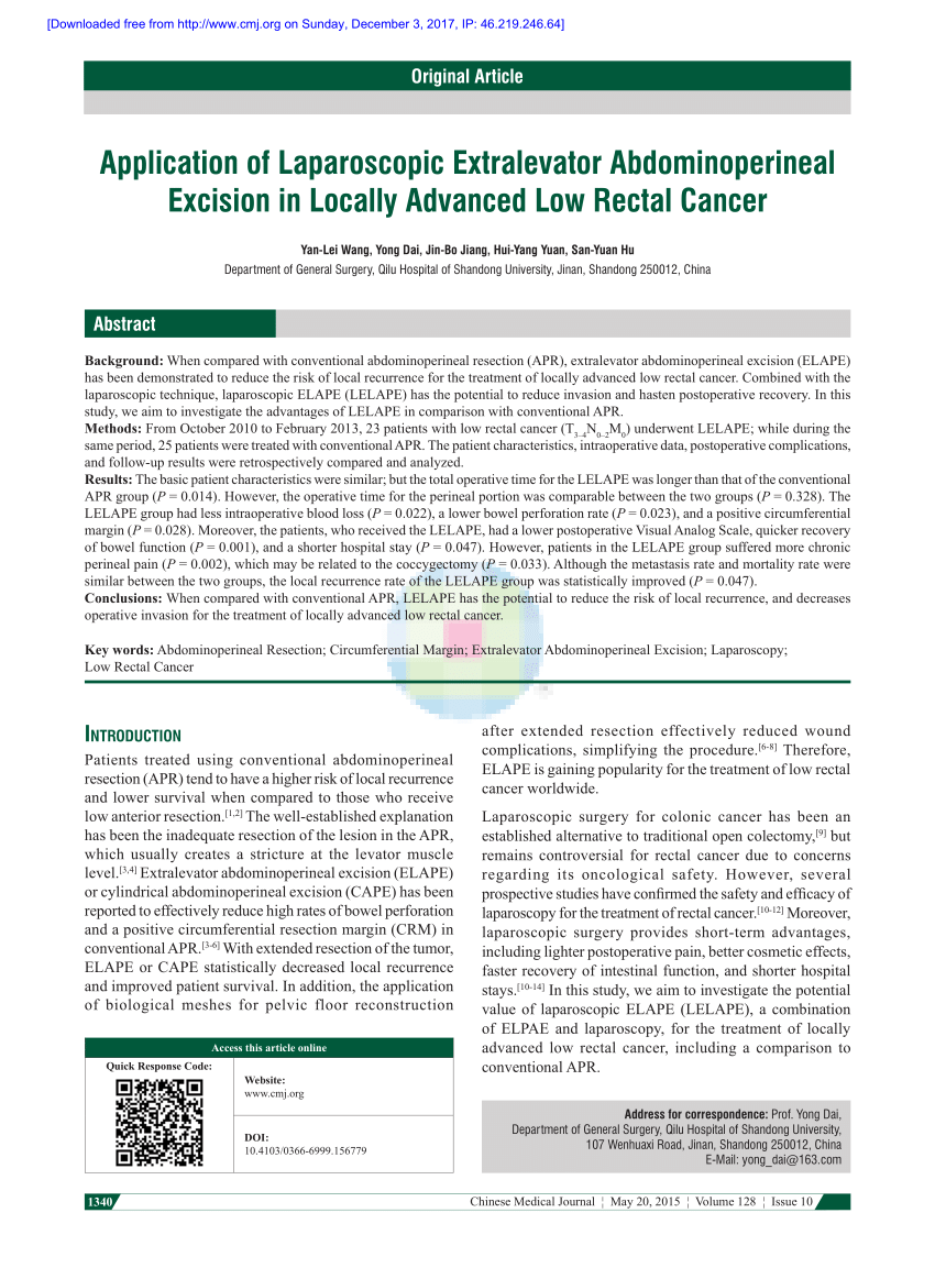 hight resolution of extralevator versus conventional abdominoperineal resection for rectal cancer a systematic review and meta analysis ionut negoi request pdf