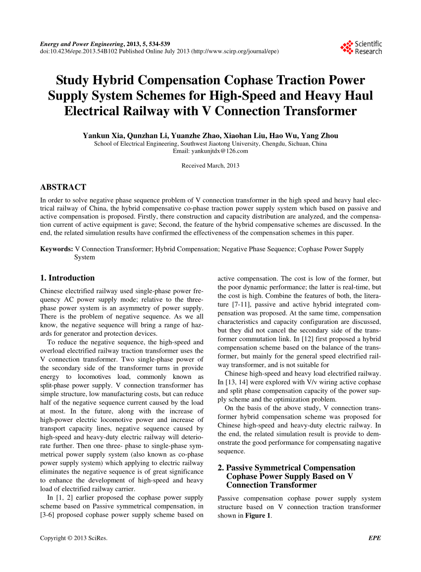 hight resolution of  pdf study hybrid compensation cophase traction power supply system schemes for high speed and heavy haul electrical railway with v connection transformer