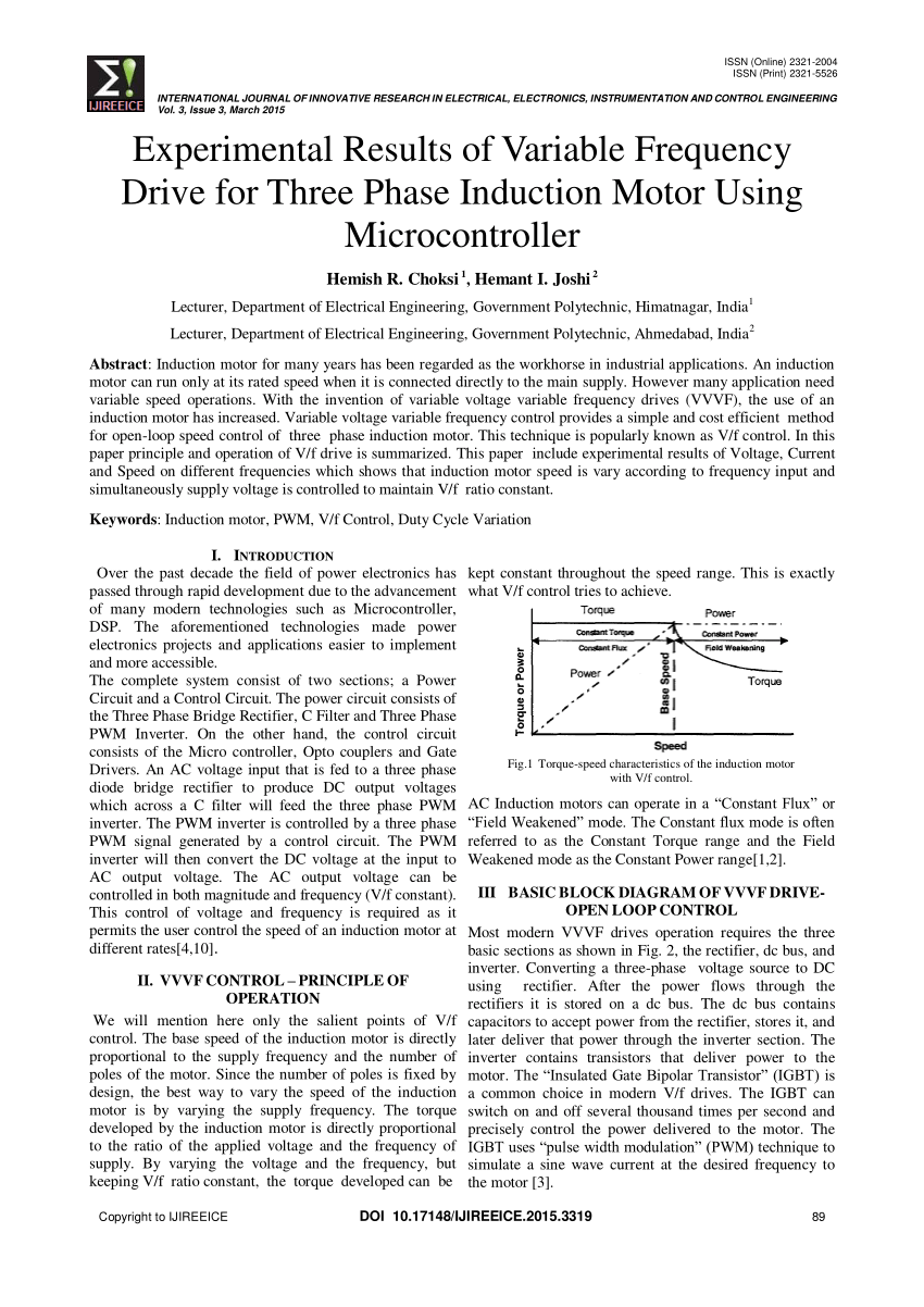 hight resolution of  pdf experimental results of variable frequency drive for three phase induction motor using microcontroller
