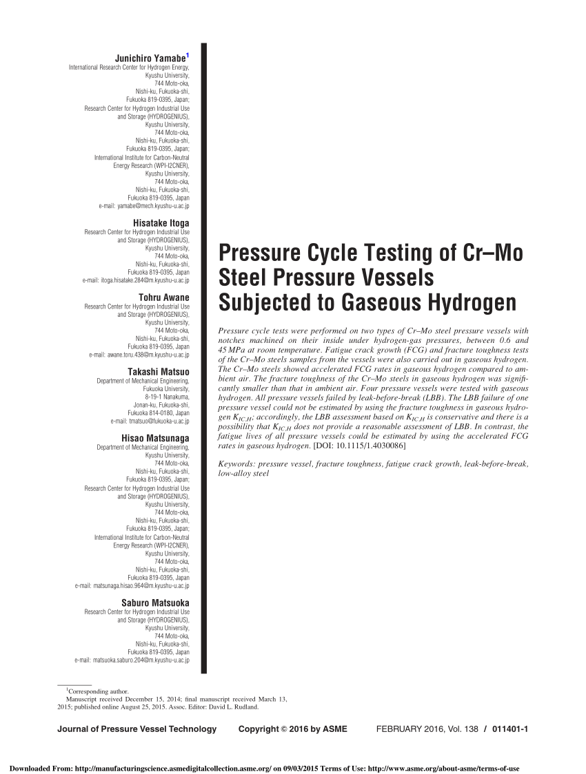 (PDF) Pressure Cycle Testing of Cr-Mo Steel Pressure