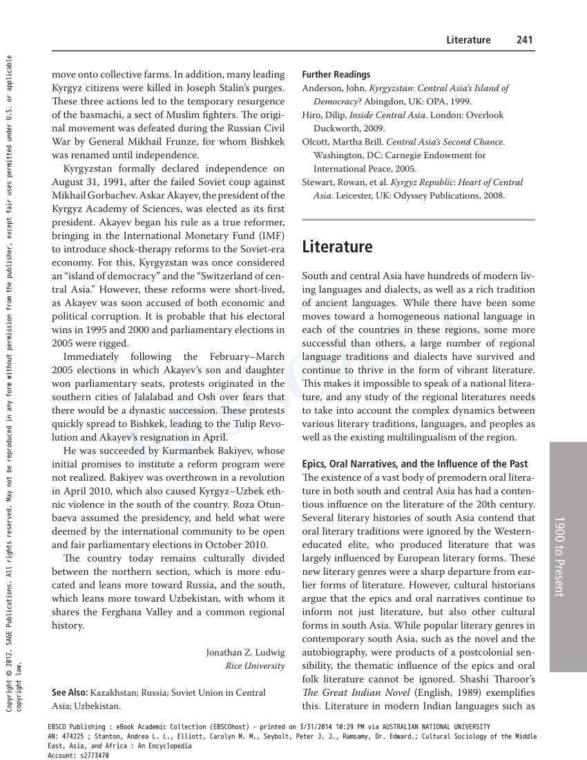 PDF Literature In South Asia 1900 Present